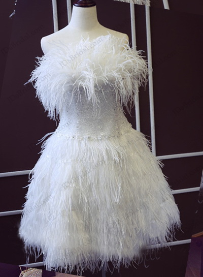 JW16197 Swoon ostrich feathers white wedding party gown
