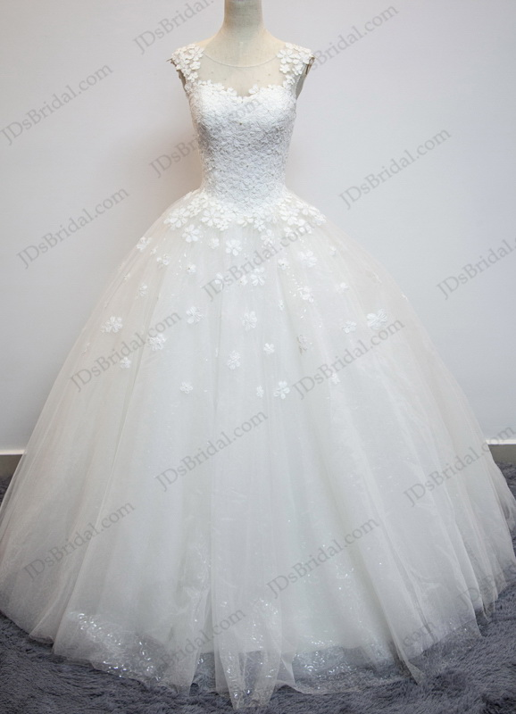JW16199 Dreamy florals illusion sheer back sparkles ball gown wedding dress