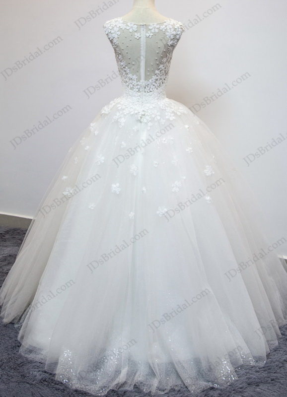 Jw16199 Dreamy Florals Illusion Sheer Back Sparkles Ball Gown
