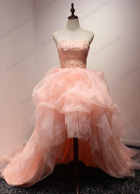 JW16200 Blush peach color high low pickups organza wedding dress