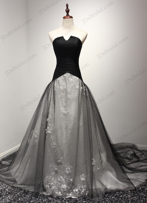 JW16201 Unique notch neckline black and white ball gown wedding dress