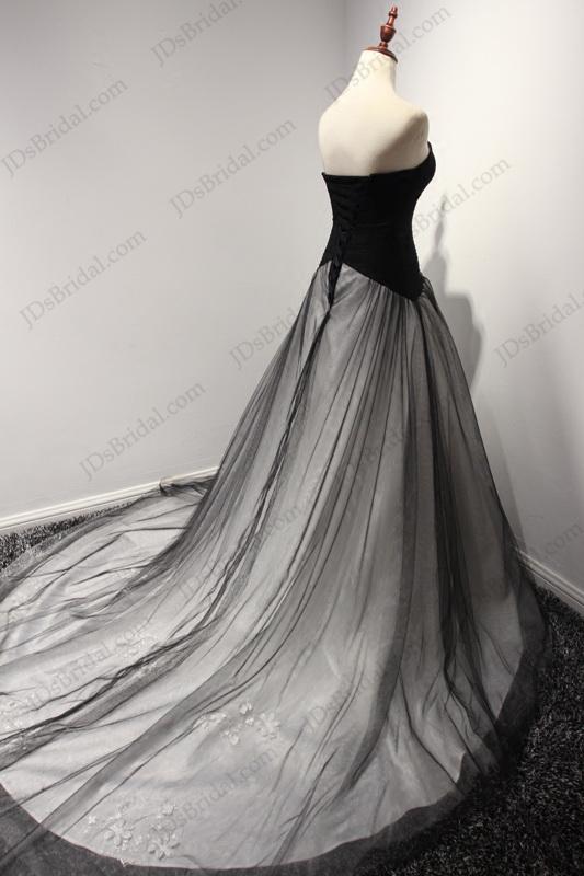 jw16201 unique notch neckline black and white ball gown