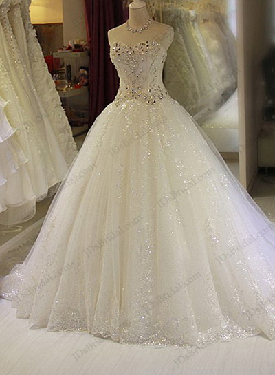 JW16204 Sparkles crystal details sweetheart neckline pirncess ball gown bridal dress