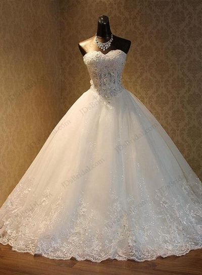 Sexy Illusion Lace Bodice Sweetheart Neckline Blingbling Tulle Princess Skirt Ball Gown Wedding Dress