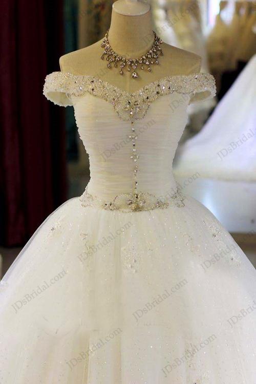 JW16208 Sparkles off shoulder lace tulle princess wedding