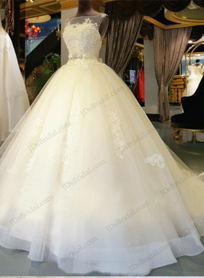 JW16209 Dreamy sheer bateau neck lace tulle princess wedding dress