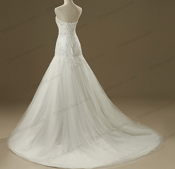 classic strapless beaded lace elongated tulle a line wedding bridal dress