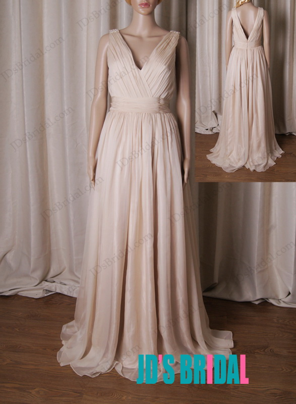 LJ215 strappy v neck nude color flowy chiffon bridesmade dress prom dress