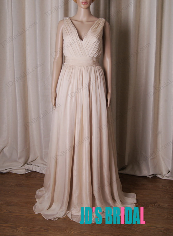 elegant wedding bridesmaid dress in nude color with deep v back chiffon long prom gowns