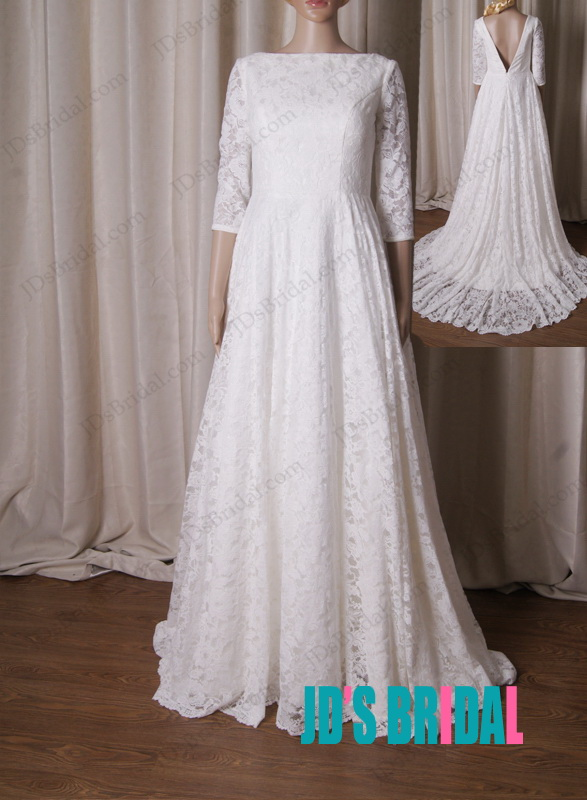 LJ216 Classic full lace a line bateau neck deep v back wedding dresses