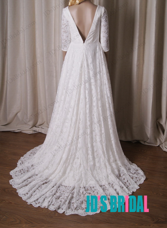 vintage inspired 1960s full lace sexy deep v back 1/2 length sleeves lace a line wedding bridal gowns 2015