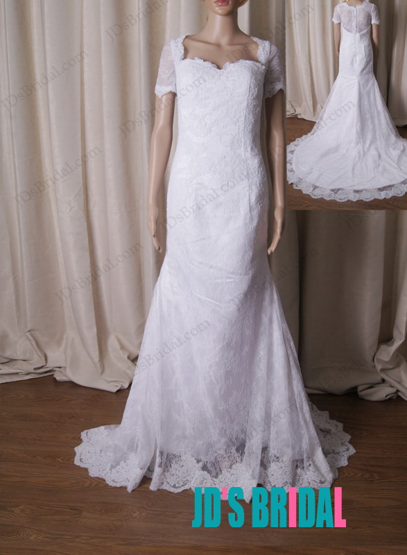 Lj218 modest illusion french lace back white mermaid for French lace wedding dress