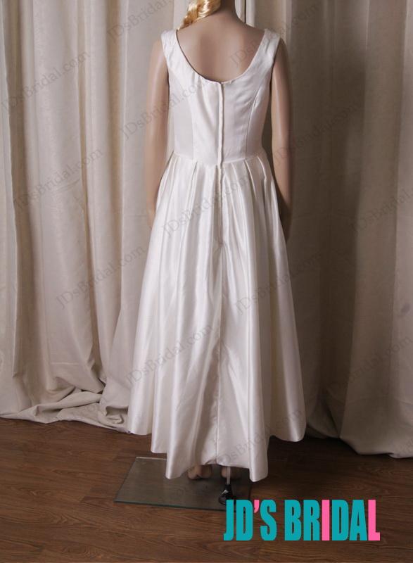 Lj219 simple cheap retro high low hem short satin wedding for High low wedding dresses cheap