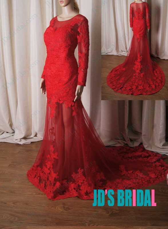 LJ220 Sexy red burgundy colored see through lace mermaid wedding dress [LJ220]