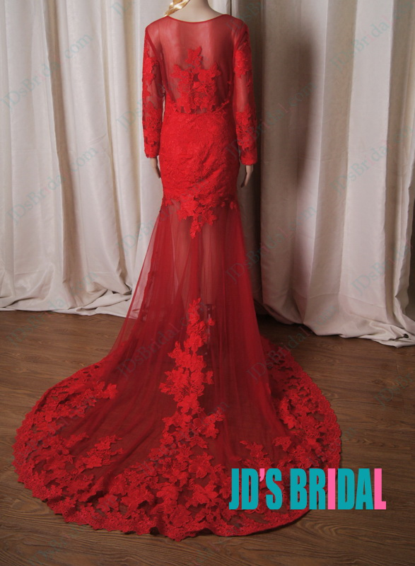 LJ220 Sexy red burgundy colored see through lace mermaid wedding dress
