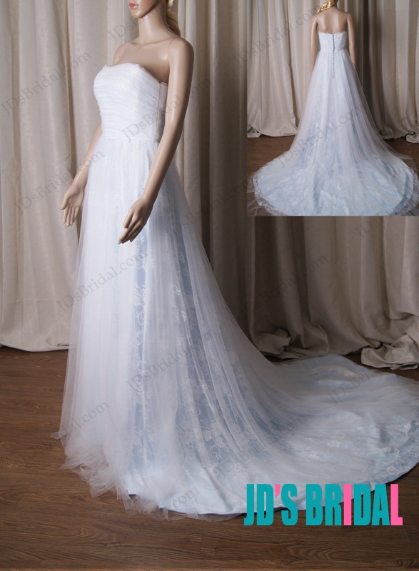 LJ221 Romance white with blue lace tulle a line 2015 wedding dress