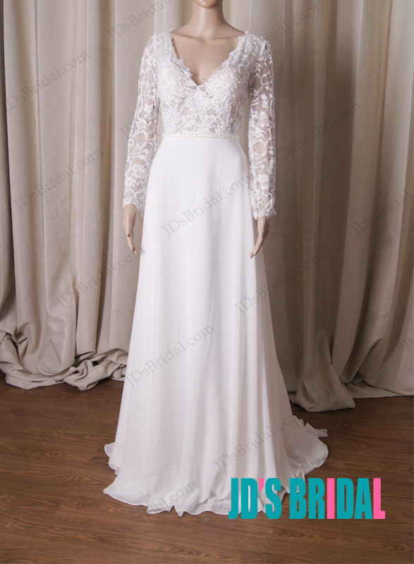 LJ224 Semi see through long sleeves lace with chiffon skirt wedding dress