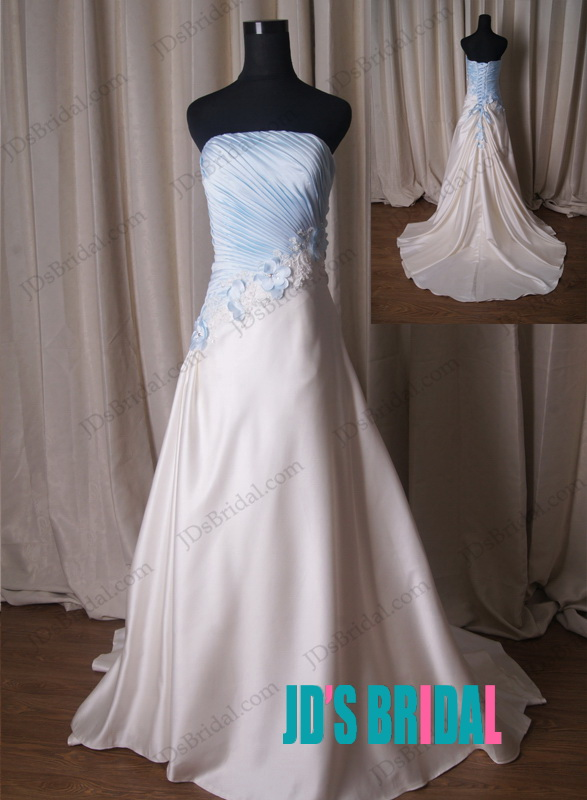 LJ225 Ivory with blue style strapless ball
