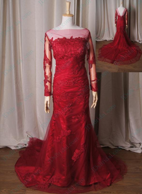 Sexy Burgundy Mermaid Wedding Dresses