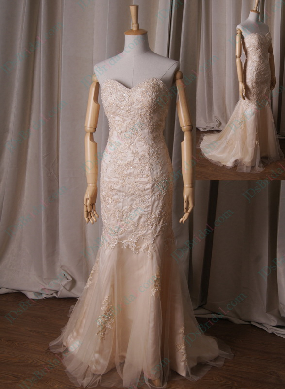 Lj227 light champagne gold colored sweetheart neck lace for Champagne color wedding dresses