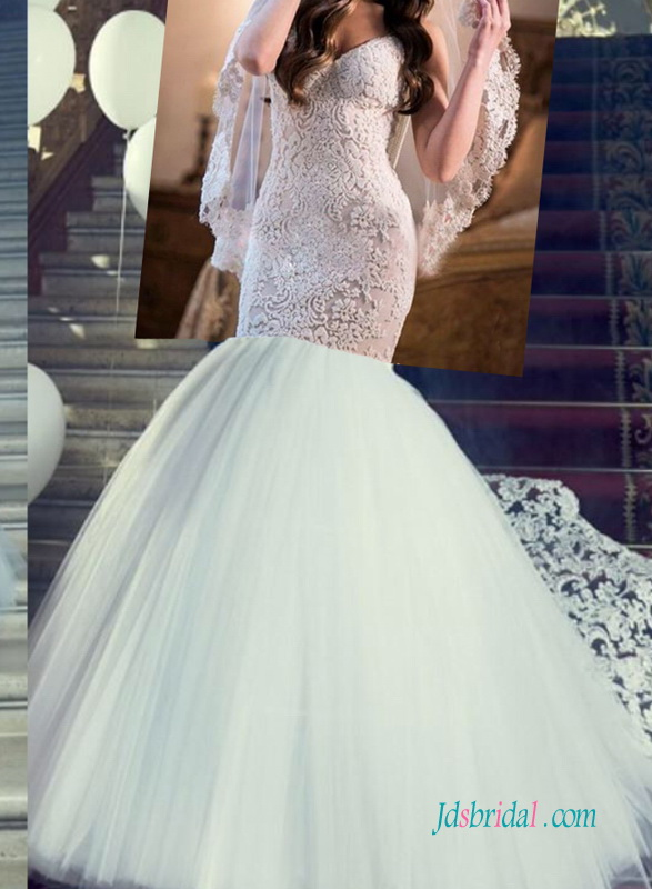 H1259 Sexy customized backless lace mermaid wedding dress