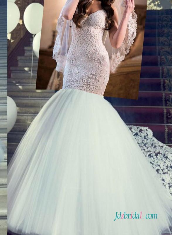 H1259 Sexy Customized Backless Lace Mermaid Wedding Dress