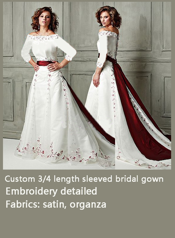 cdfaae7b70 H0944 Custom make vintage off shoulder burgundy wedding dress