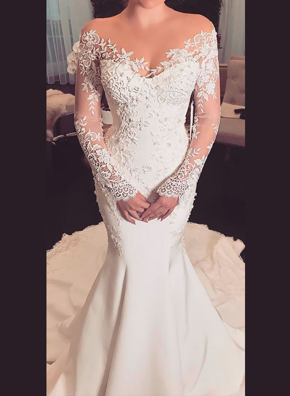 H0945 Sexy sheer top illusion long sleeves lace mermaid wedding dress