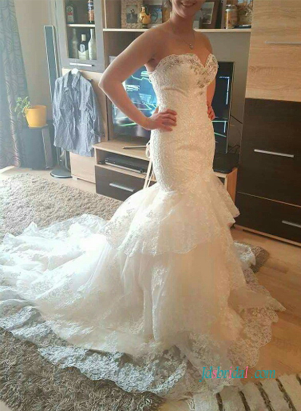 H0949 Stunning strapless lace mermaid wedding dress