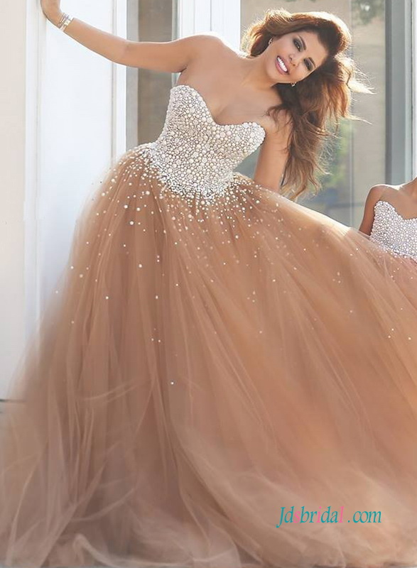 H0951 Unique rose brown blush tulle wedding dress prom gown