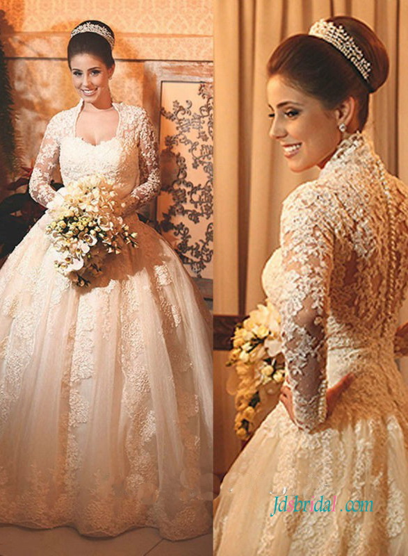 H0952 Elgance high neck lace princess ball gown wedding dress