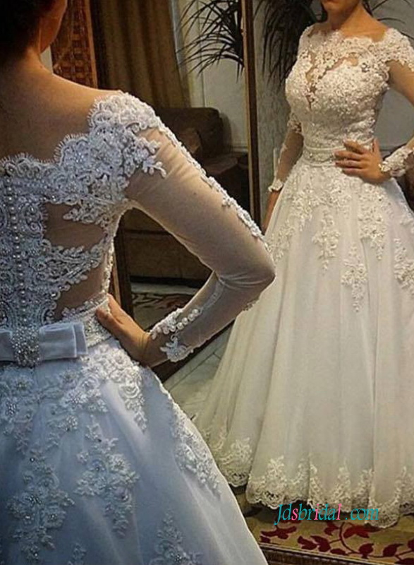 H0953 Romance boat neck long sleeved ball gown weddingdress
