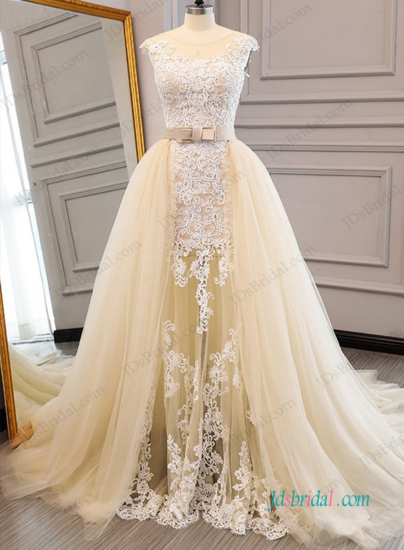 b1e1ebdb620 H0956 Stunning two pieces champagne tulle   lace wedding dress