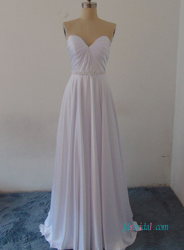 H0957 Simply strapless light weight wedding dress for destination theme