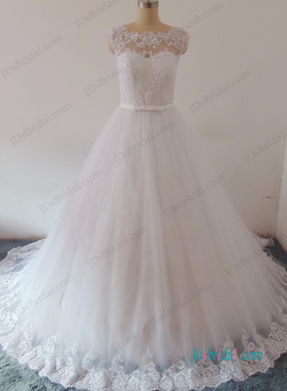 H0959 Romatic illusion lace boat neck tulle princess wedding dress