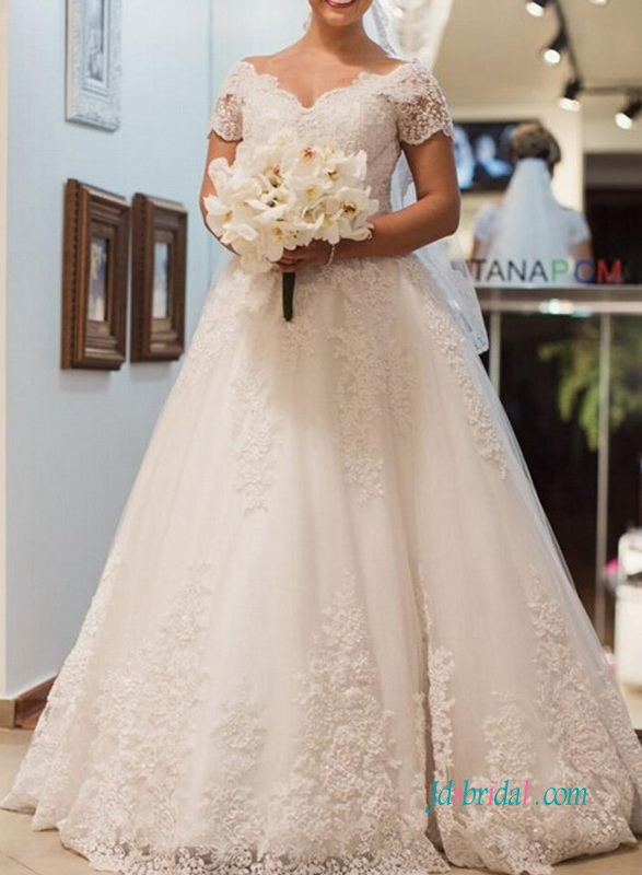 H0960 Romance short sleeved sheer lace back princess ball gown