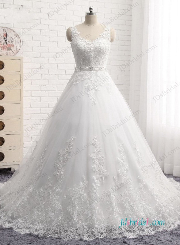H0962 Beatiful cheap strappy lace princess ball gown wedding dress