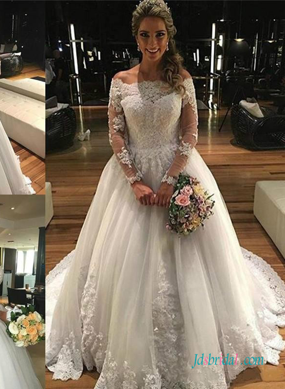 H0964 Off shoulder princess tulle ball gown wedding dress