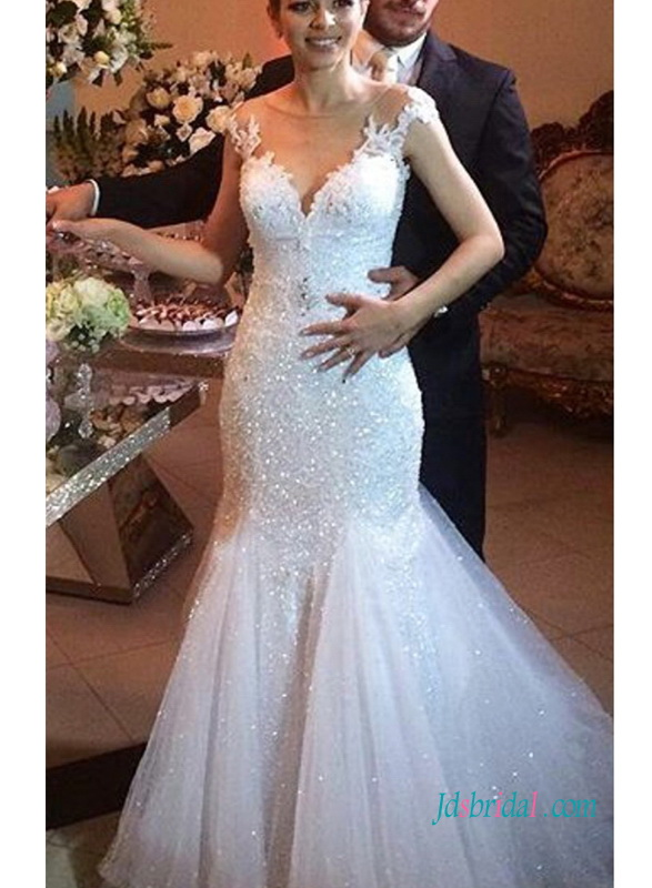 H0965 sparkly cap sleeves lace mermaid wedding bridal gown for Sparkly wedding dresses with sleeves