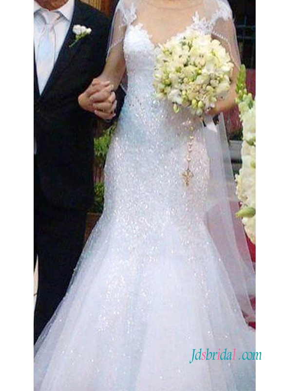 H0965 Sparkly cap sleeves lace mermaid wedding bridal gown