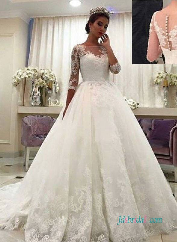 H0966 Modest illusion lace half sleeves princess wedding dress