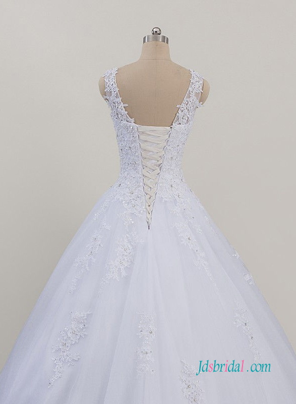H0968 Sheer tulle bateau neck white princess ball gown bridal dress