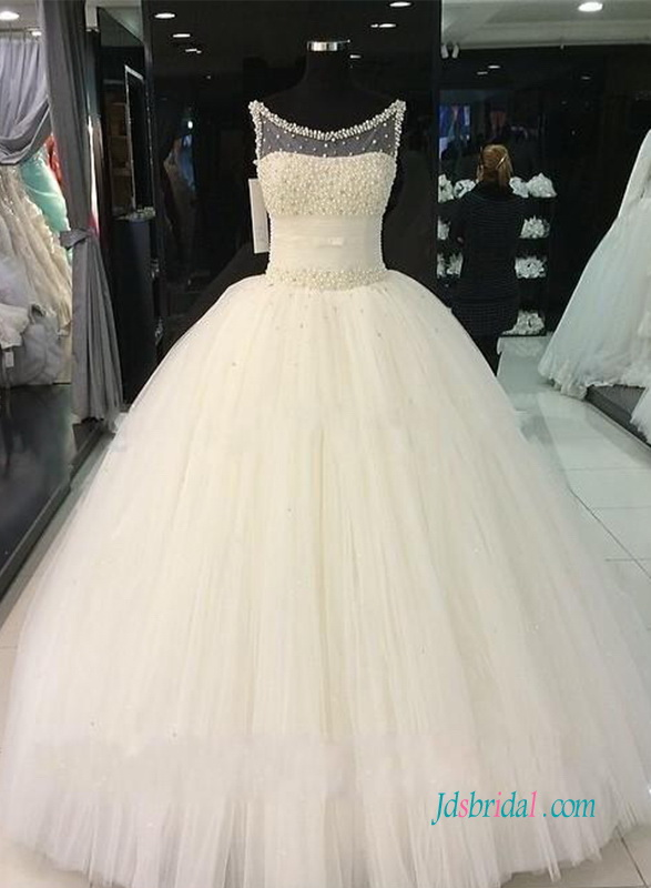H0969 Beautiful pearls beads tulle princess wedding ball gown