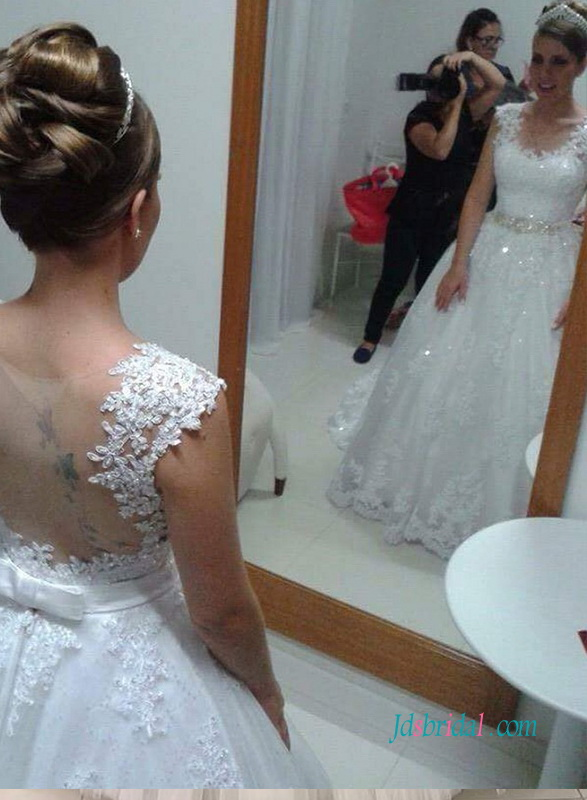 H0970 Sexy sheer back lace princess wedding ball gown dress
