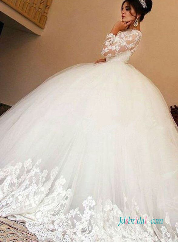 H0971 Modest new princess tulle wedding dress with long sleeves