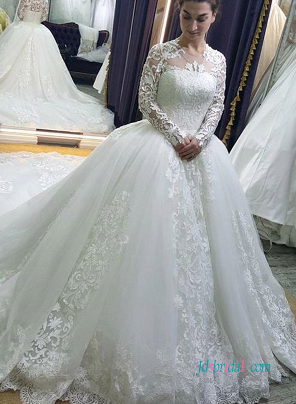 099de5938ad5 H0972 Modest long sleeves lace tulle ball gown wedding dress :