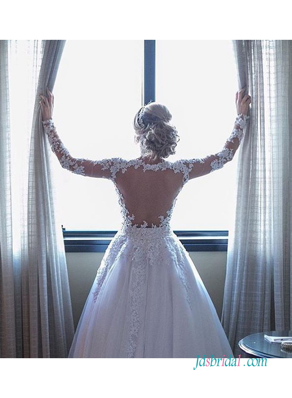 sexy sheer tulle open back long sleeves bridal ball gown wedding dresses 2018