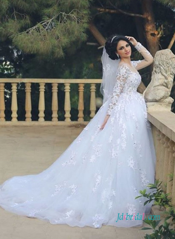 H0974 Modest long sleeves princess ball gown wedding dress :