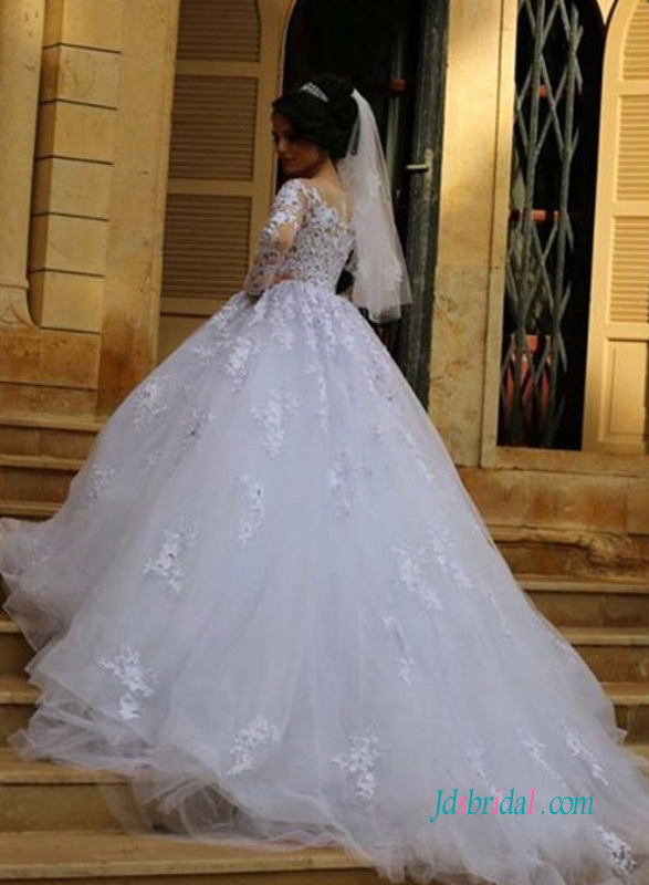 beautiful modest illusion lace princess tulle ball gown wedding dress with long sleeves 2018