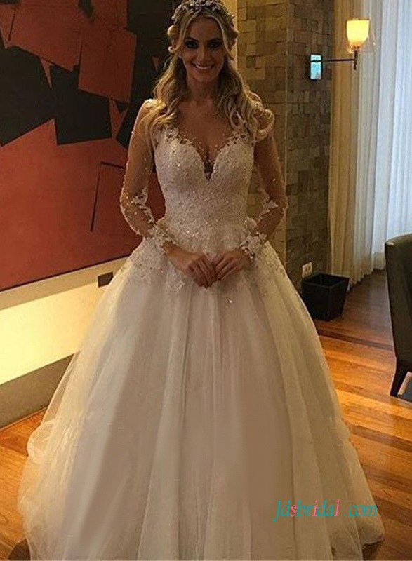 H0975 Sexy sheer back long sleeves tulle ball gown wedding dress